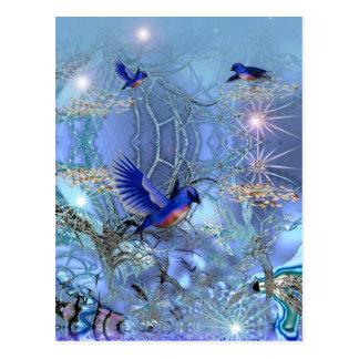 Oiseaux de bleu de carte postale