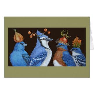 Oiseaux de bleu sur la carte orange de nuit de