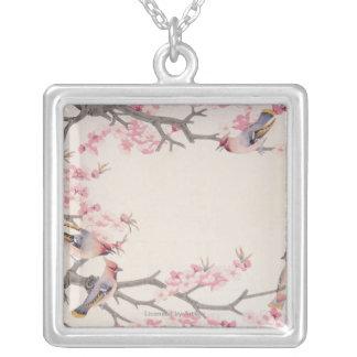 Oiseaux de chant au printemps pendentif carré