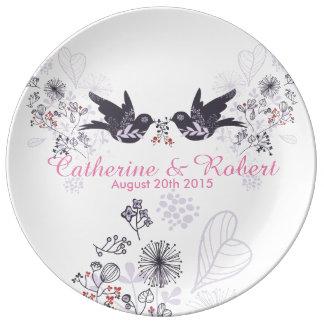 oiseaux de mariage de plat personnalisable de assiette en porcelaine