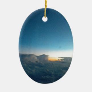 oiseaux de nuage ornement ovale en céramique