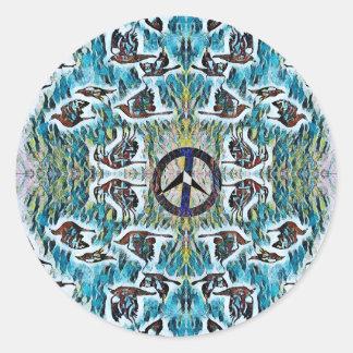 Oiseaux de paix sticker rond
