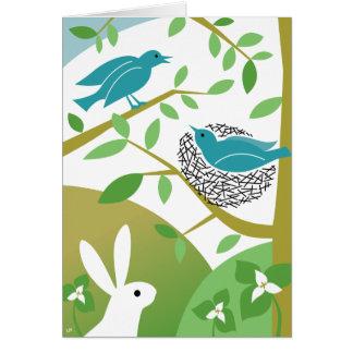 Oiseaux de ressort et carte de voeux heureux de