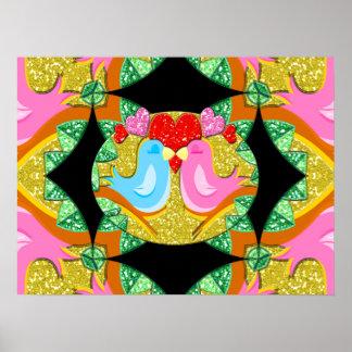 Oiseaux de scintillement Valentine Kissy Affiche