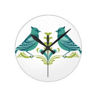Oiseaux décoratifs bleus horloges