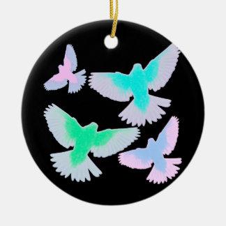 Oiseaux en pastel ornement rond en céramique
