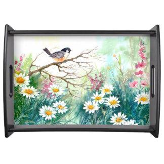 Oiseaux et fleurs servant le plateau