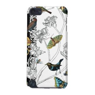 Oiseaux et papillon sur un arrière - plan noir et coque iPod touch 5G