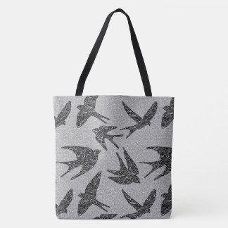 Oiseaux japonais en vol, charbon de bois et tote bag
