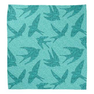 Oiseaux japonais en vol, turquoise et Aqua Bandanas