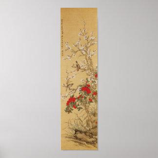 Oiseaux japonais vintages et fleurs poster