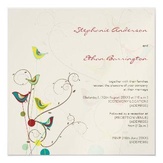 Oiseaux lunatiques et remous d'été épousant carton d'invitation  13,33 cm