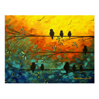 Oiseaux lunatiques uniques sur une carte postale
