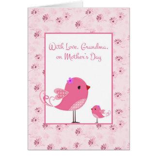 Oiseaux roses, grand-mère, carte de jour de mères