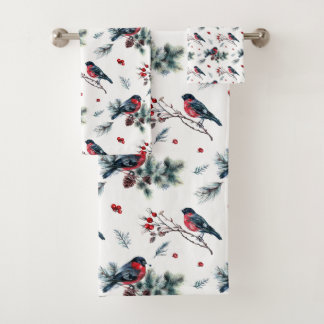 Oiseaux rustiques de baies de branches de pin de