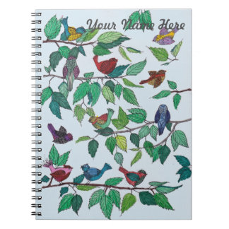 Oiseaux sur le carnet de branches