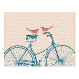 Oiseaux sur une bicyclette carte postale