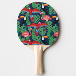 Oiseaux tropicaux dans des couleurs lumineuses raquette de ping pong