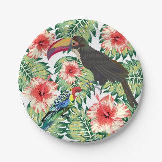 Oiseaux tropicaux des séries 1 de conception de assiettes en papier