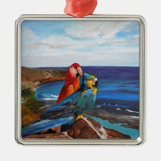 Oiseaux tropicaux donnant sur la baie ornement carré argenté