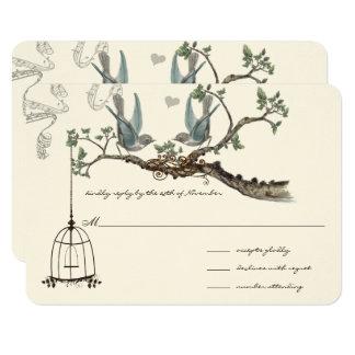Oiseaux vintages bleus et mariages de cage à carton d'invitation 8,89 cm x 12,70 cm