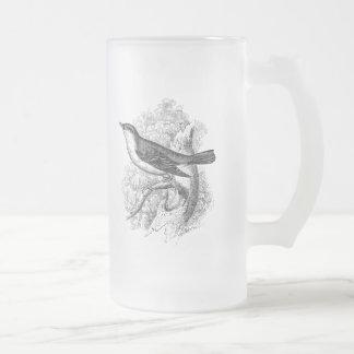 Oiseaux vintages d'illustration d'oiseau de mug en verre givré