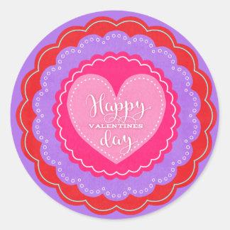 Old-fashioned Valentine de heureuse Sticker Rond