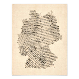 Old Sheet Music Map of Germany Map Personalised Invite