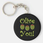 Olive de fin gourmet vous porte-clé rond