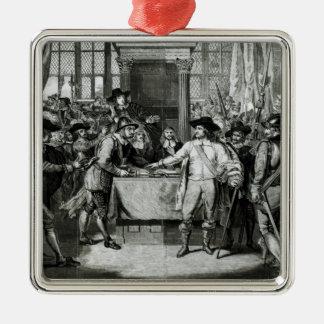 Oliver Cromwell Ornement Carré Argenté