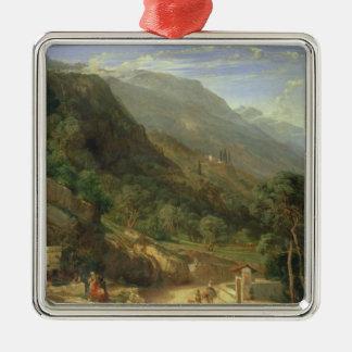Oliveraies chez Varenna, lac Como, Italie, 1861 (o Ornement Carré Argenté