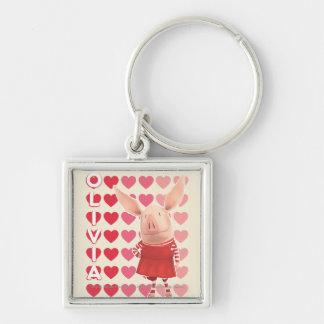 Olivia - arrière - plan de coeur porte-clé carré argenté