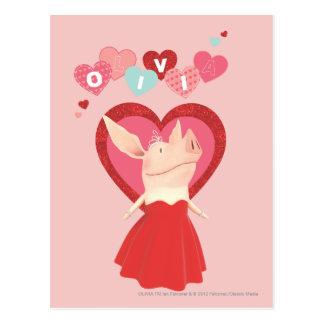 Olivia dans la robe rouge cartes postales