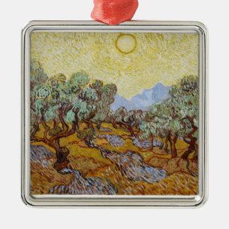 Oliviers de Vincent van Gogh |, 1889 Ornement Carré Argenté