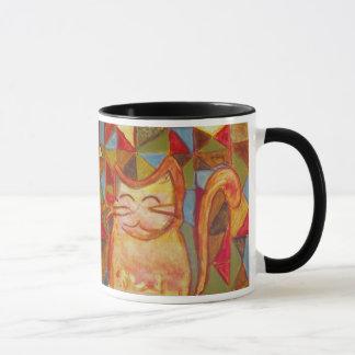 Ollie la tasse orange de chat de patchwork