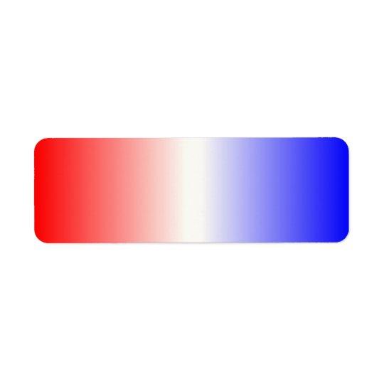 Ombre blanc et bleu rouge étiquettes d'adresse retour