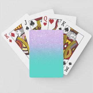 Ombre chic de turquoise de scintillement de jeu de cartes
