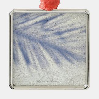 Ombre du palmier 3 ornement carré argenté