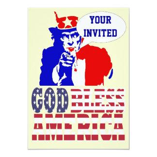 Oncle Sam, Carton D'invitation 12,7 Cm X 17,78 Cm