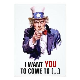"""Oncle Sam """"je vous veux"""" personnalisables Carton D'invitation 12,7 Cm X 17,78 Cm"""