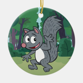 Ondulation grise d'écureuil de Rick | de garde Ornement Rond En Céramique