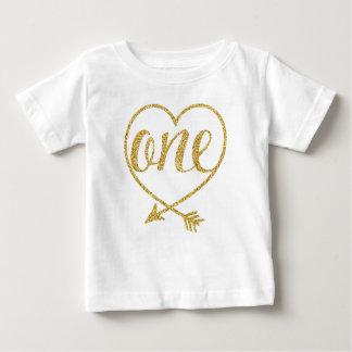 ONE|One |Heart|Glitter-Print an T-shirt Pour Bébé
