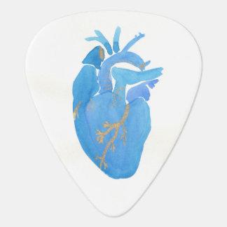 Onglet de guitare anatomique bleu de coeur