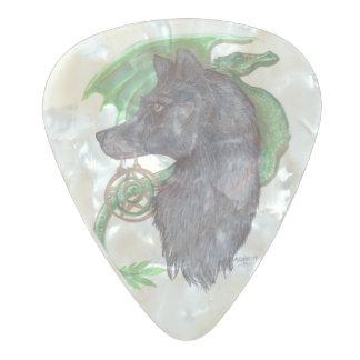 Onglet de guitare de loup et de dragon médiator perle celluloid
