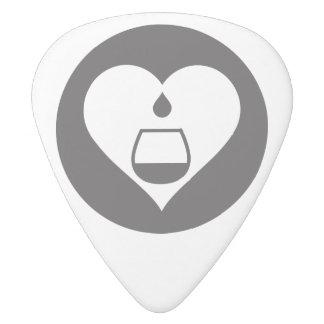 Onglet de guitare noir de logo de Hearts2Tails Médiator Delrin Blanc