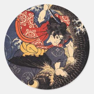 Oniwakamaru et la carpe géante adhésifs ronds