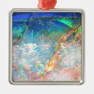Opale d'océan ornement carré argenté