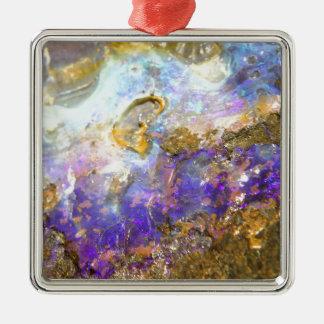 Opale d'or ornement carré argenté