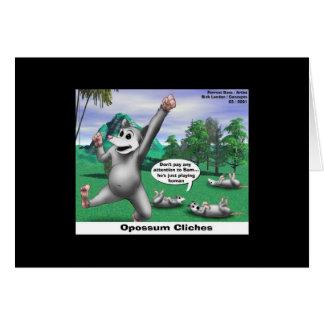 Opossums jouant la carte de note drôle de bande