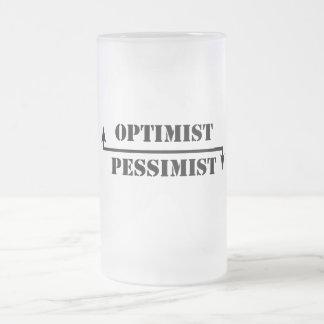 optimiste/pessimiste mug en verre givré